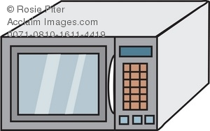 Clip art drawing of a modern microwave oven as seen in the typical kitchen