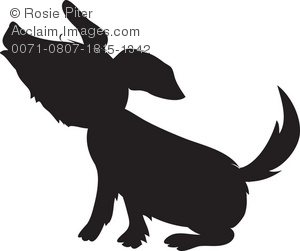 A howling little dog in silhouette