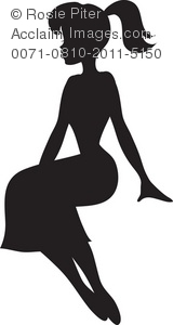 silhouette of a pretty young girl or woman sitting down royalty free clipart image