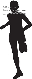silhouette of boy or man running or jogging