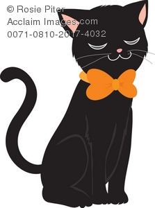 cute black cat dressed for halloween with an orange bow tie