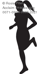 girl or woman jogging or running silhouette