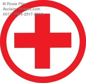 symbol of red cross with circle around it