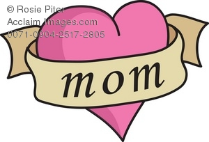 "Pink heart with banner around it that says, ""mom"" in a Mother's Day graphic"