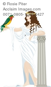 Beautiful Greek goddess holding a hawk on her hand