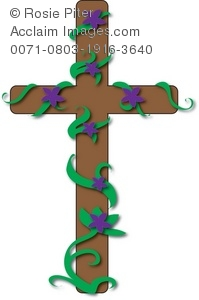 Christian wooden cross with Easter Lily flowers growing upon it
