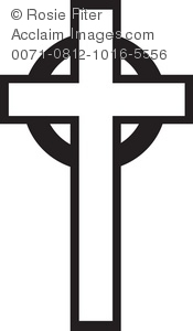 Silhouette of a Christian cross with a circle behind, a symbol of Easter