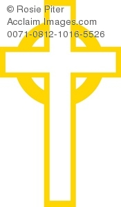 Yellow Christian cross, a symbol of Easter