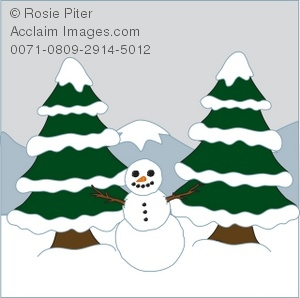 Winter Scene with Snow-Covered Pine Trees, Mountains and the Snowman with Lots of Snow