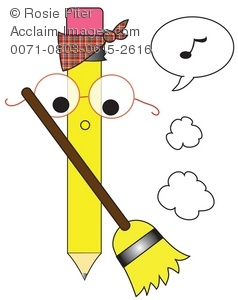 Pencil Cartoon Character Whistling While He Works Sweeping