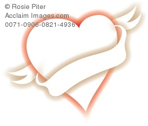 Colorful heart graphic with a blank banner for your message of love
