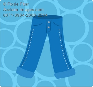 Pair of blue jeans on a background of blue bubbles