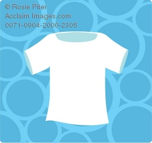 White T-shirt on background of blue bubbles
