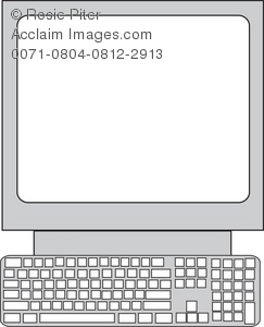 Simple drawing of the computer with keyboard and monitor