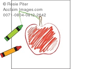 Child's drawing of an Apple using crayons