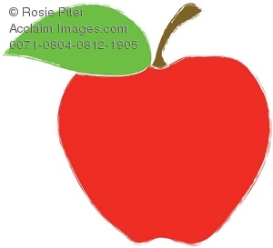 Drawing of a red apple with green leaf and stem