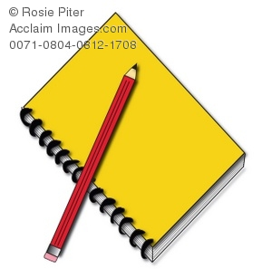 a bright yellow spiral notebook with a red pencil