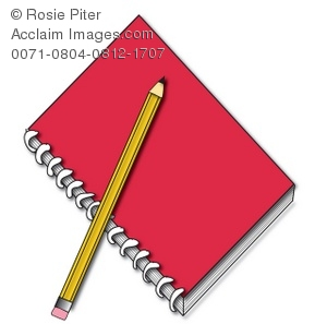 a red spiral notebook with a yellow pencil
