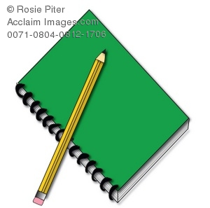 A Clip Art Illustration of a  green spiral notebook with a yellow pencil