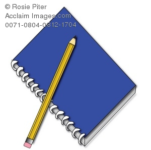 Cartoon Clip Art of a blue spiral notebook with a yellow pencil