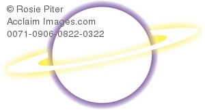 A Clip Art Illustration of A Yellow Ring Around Saturn. Saturn is outlined in Purple