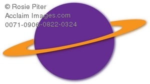 A Clipart Image Of A Solid Yellow Ring Around A Purple Drawing Of Saturn