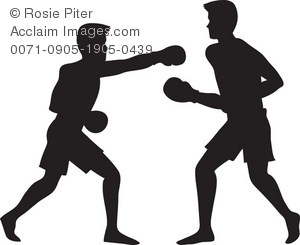 Silhouette of  two boxers in a boxing ring