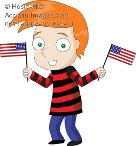 Patriotic American kid waving two flags at once