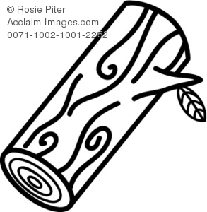 A Black And White Clip Art Of A Cut Log With A Stem On the Side