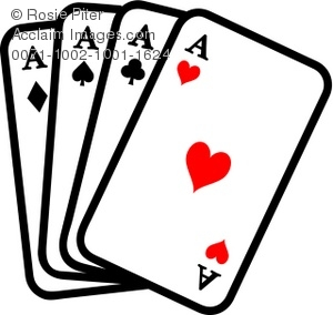 Playing cards showing four aces or four-of-a-kind, a great poker hand