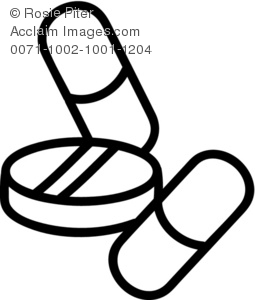 Black And White Drawing Of Medication Pills And Capsules Royalty