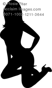 a silhouette clip art of a sexy woman on her knees wearing high heels with her hand on one hip