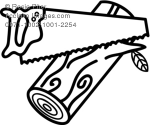 a black and white clip art of a hand saw sawing a piece of wood. The wood has a leaf growing on it