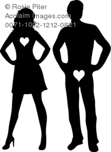 a clip art silhouette of a sexy man and woman wearing heart patches standing with their hands on their hips