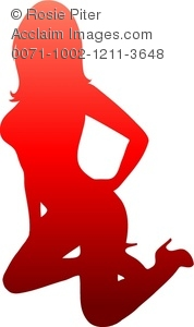 Silhouette In Red Scale Of A Sexy Woman On Her Knees Wearing High Heels With One Hand On Her Hip
