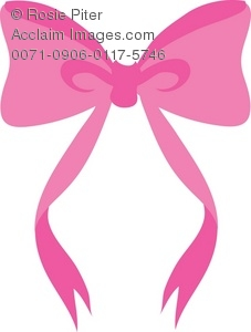 a clip art illustration of a pink bow