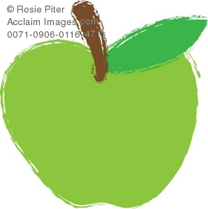 a cartoon clipart of a green apple with a stem
