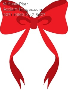A Cartoon Clip Art Of A Red Bow