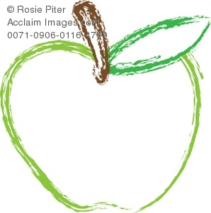 A Clip Art Cartoon Of An Outline Of A Green Apple With A Stem
