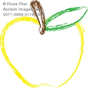 A Clip Art Outline Of A Yellow Apple With a Stem And A Green Leaf
