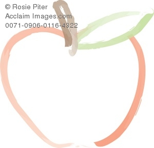 Clip Art Outline Of A Red Apple With A Brown Stem and A Green Leaf