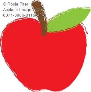 Clip Art Illustration Of A Bright Red Apple With A Brown Stem And Green Leaf