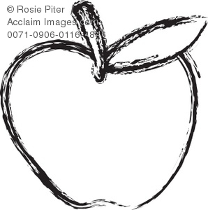 Clip Art Illustration Of The Outline Of An Apple With The Stem and A Leaf