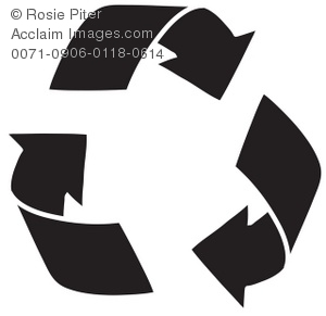 recycle symbol in black silhouette