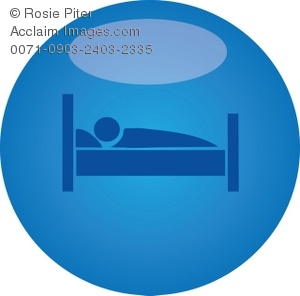 clip art illustration of a person laying in bed taking a nap on a blue background