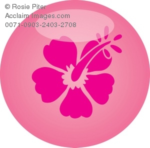 clip art of a pink flower inside of a pink circle