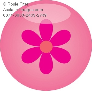 clip art illustration of a pink flower inside of a pink circle