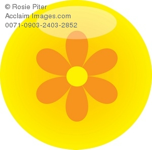 Clip Art Illustration Of A Yellow Daisy On A Yellow Background