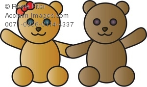 Clip Art Of A Male And A Female Stuffed Bear Holding Hands
