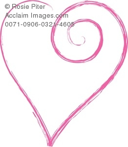 clip art illustration of a pink heart on a white background